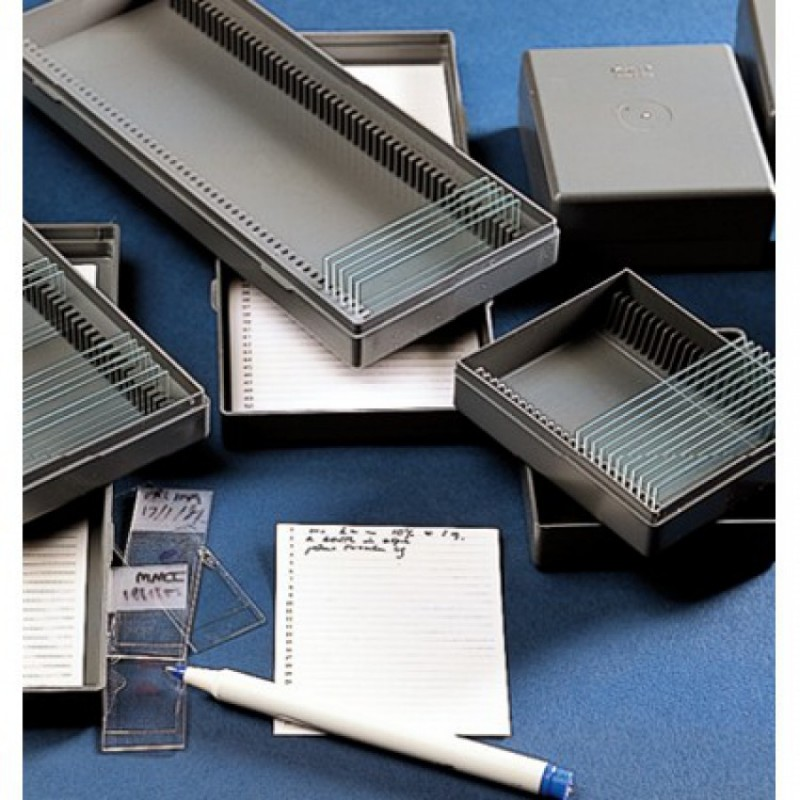 Caja de plástico para 25 portaobjetos